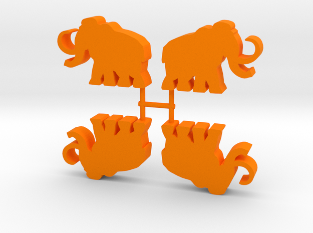 Mammoth Meeple, running, 4-set in Orange Processed Versatile Plastic
