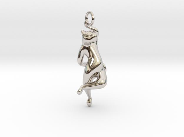 cat_012 in Rhodium Plated Brass