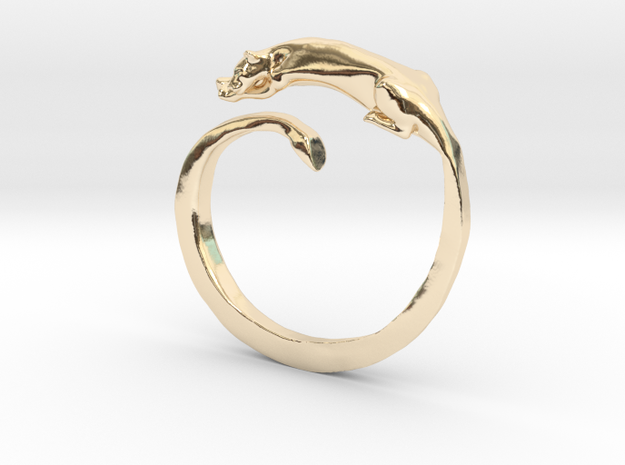 Sleeping Lioness Ring in 14K Yellow Gold