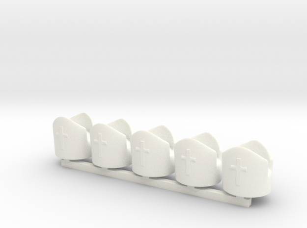 5 x Bishop in White Processed Versatile Plastic