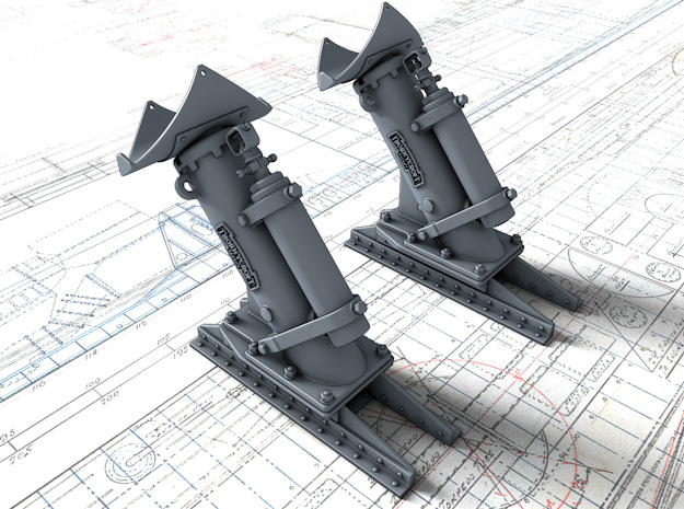 1/200 Royal Navy MKII Depth Charge Throwers x2 in Smoothest Fine Detail Plastic