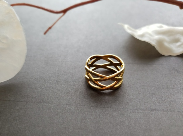 braided fashion ring in 18k Gold Plated Brass: 9 / 59