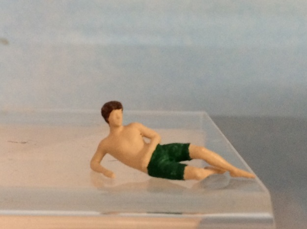 Male Swimsuit Lying on Side in Smoothest Fine Detail Plastic: 1:64 - S