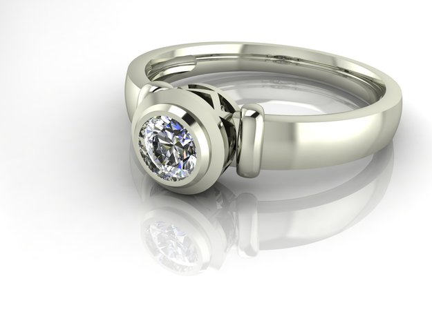Solitaire with shoulders NO STONES SUPPLIED in Fine Detail Polished Silver