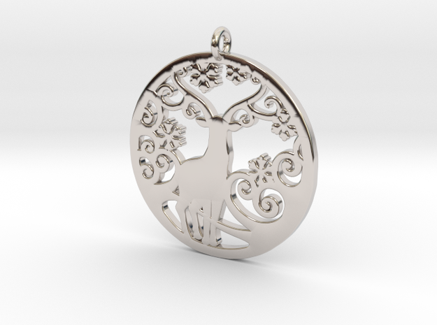 Deer-Circular-Pendant-Stl-3D-Printed-Model in Rhodium Plated Brass: Medium