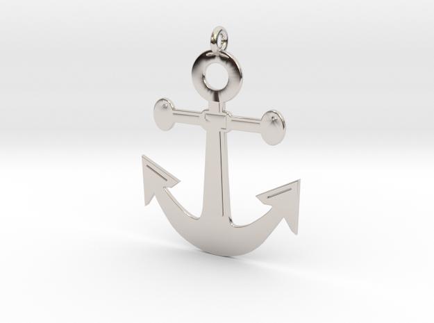 Anchor Pendant 3D Printed Model in Rhodium Plated Brass: Medium