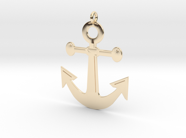 Anchor Pendant 3D Printed Model in 14k Gold Plated Brass: Medium