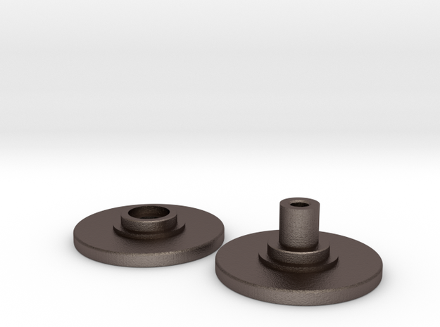 Spinner Caps - Screw Design (Pair) Print Metal in Polished Bronzed Silver Steel