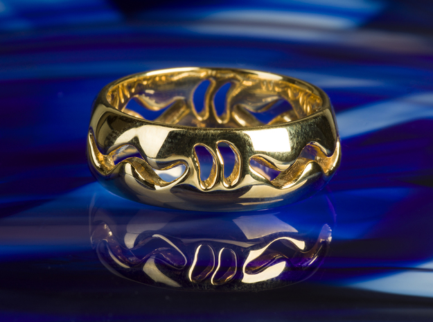 Marine Life Mythical Serpent Ouroboros Snake Ring in 14k Gold Plated Brass: 7 / 54