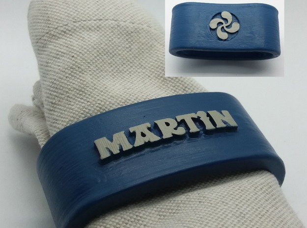 MARTIN 3D Napkin Ring with lauburu in White Natural Versatile Plastic