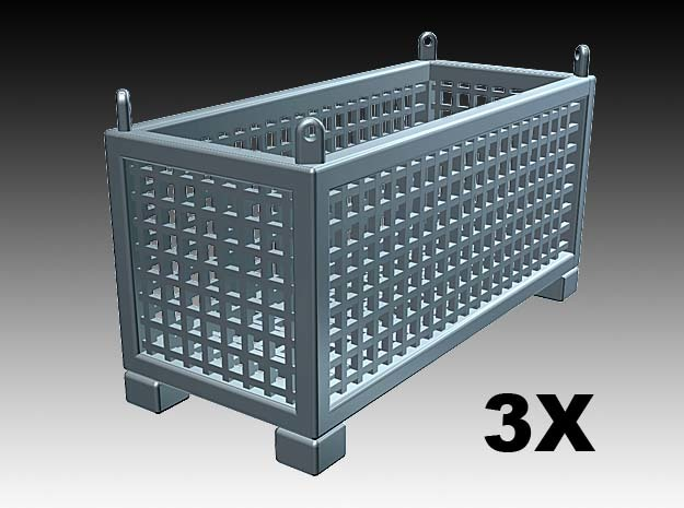 Cargo basket - 1:50 - 3X in Smooth Fine Detail Plastic