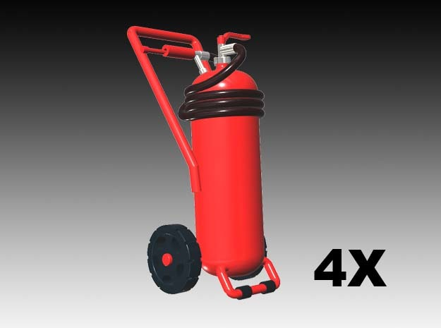 Wheeled fire extinguisher - 1:50 - 4X in Smoothest Fine Detail Plastic