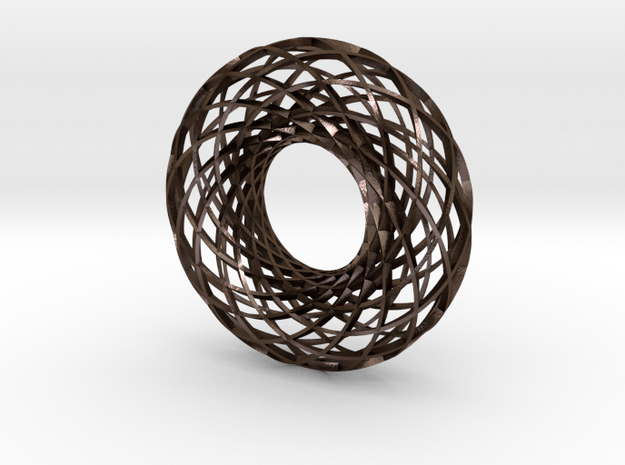Twisted strip torus,large in Polished Bronze Steel