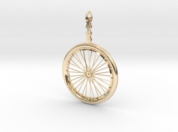 Bicycle Wheel Pendant in 14K Yellow Gold