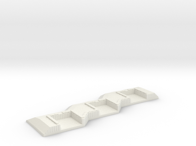 1/600 3 Gun Emplacement Left in White Natural Versatile Plastic