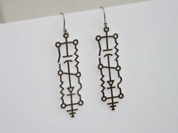 Electrical Circuit Earrings in Natural Silver