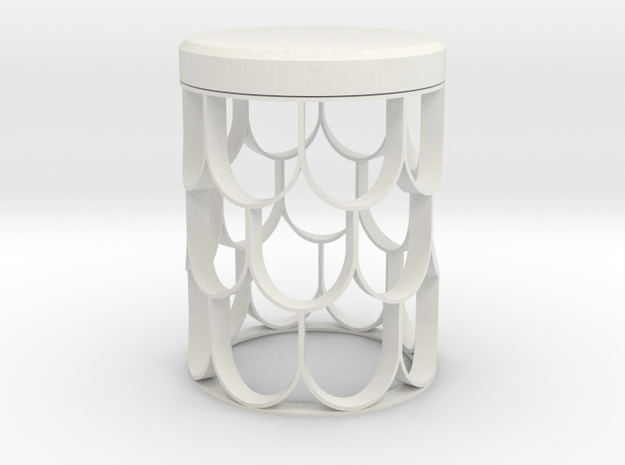 Fish Scale Side Table in White Natural Versatile Plastic