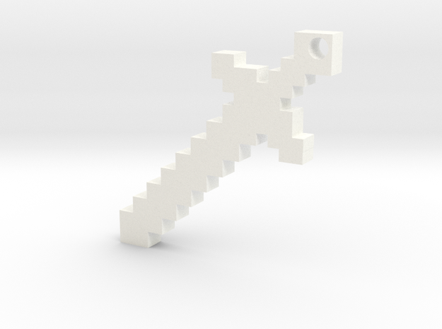Minecraft Sword Keychain in White Processed Versatile Plastic