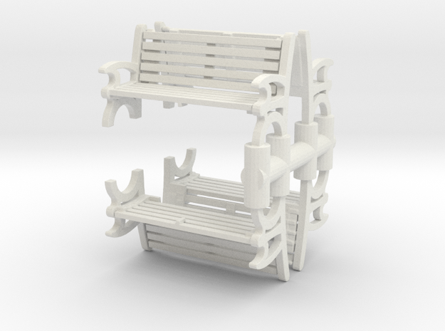 Bench (4 pieces) 1/72 in White Natural Versatile Plastic