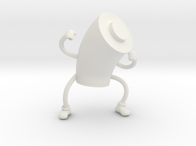 Battery Guy in White Natural Versatile Plastic: Extra Small