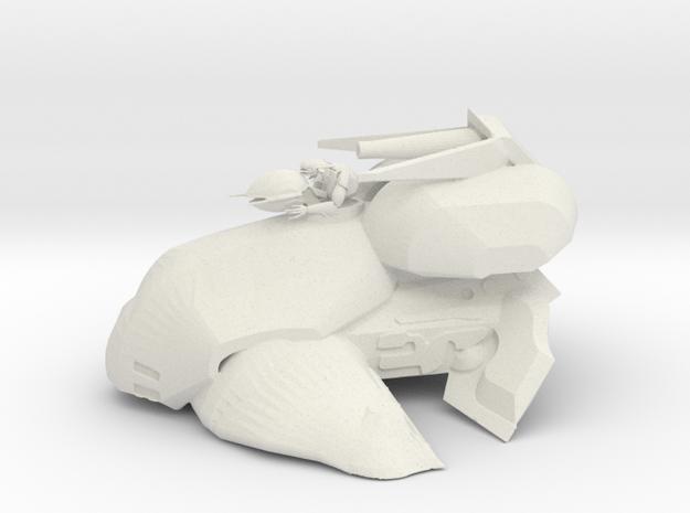 Alien Tank with Gunner in White Natural Versatile Plastic: 6mm