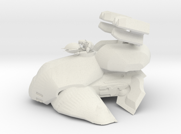 Alien Anti Air Tank with Gunner in White Natural Versatile Plastic: 6mm