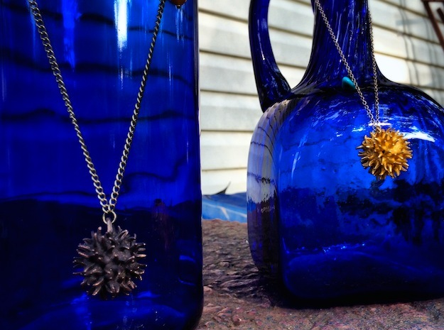 Sweetgum Tree Seed Pendant: Necklace/Earring in Polished Bronzed Silver Steel