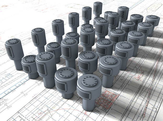 1/35 Royal Navy Small Mushroom Vents x30 in Smooth Fine Detail Plastic
