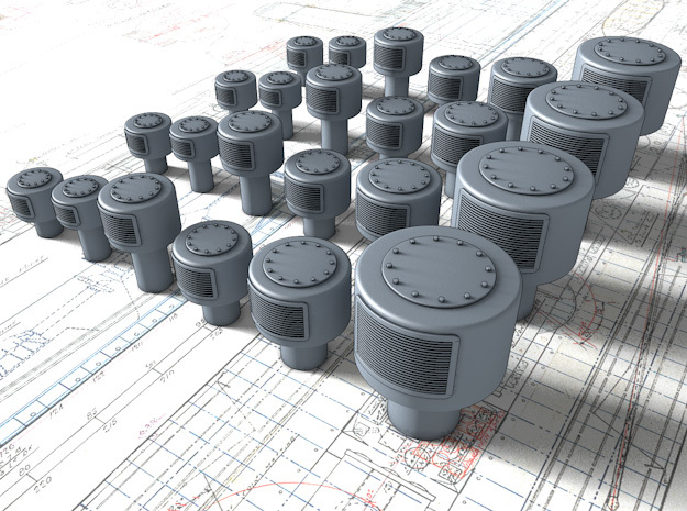 1/48 Royal Navy Large Mushroom Vents x24 in Smooth Fine Detail Plastic
