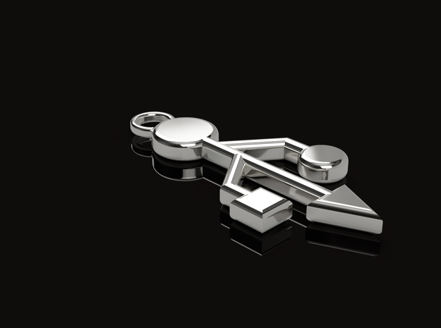 Pendant - USB Trident ~ mk-1 in Polished Silver