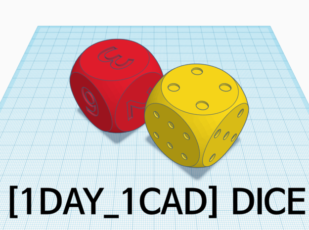 [1DAY_1CAD] DICE_dot in Yellow Processed Versatile Plastic