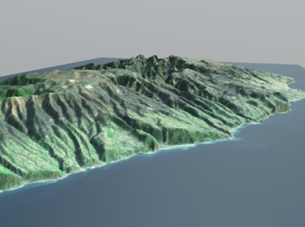Madeira Island Terrain Map in Natural Full Color Sandstone