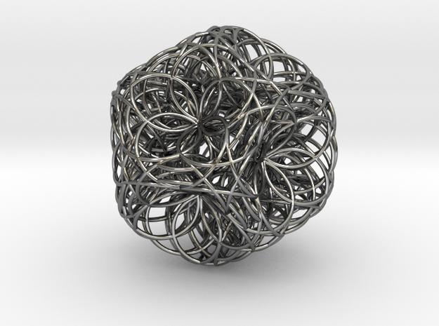 Fusion zulu flower in Fine Detail Polished Silver
