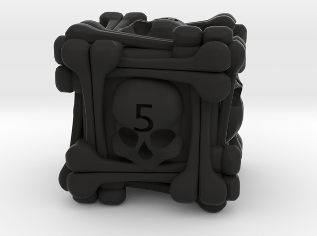 Skull D6 in Black Natural Versatile Plastic