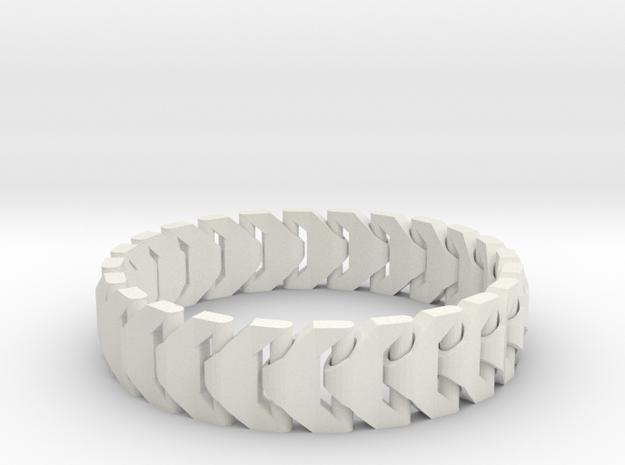 Large Articulating Print in Place Bracelet Version in White Natural Versatile Plastic