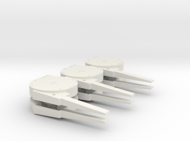 1:18 Scale Arresting Cable Sheave Set 3-Pack in White Natural Versatile Plastic