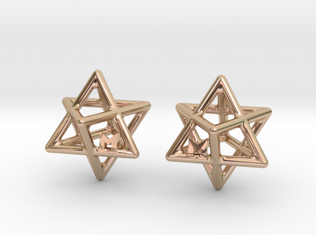 MILOSAURUS Tetrahedral 3D Star of David Earrings in 14k Rose Gold