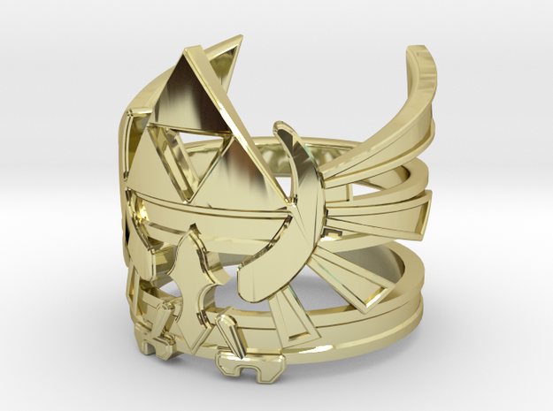 Triforce Ring - 15 to 22 in 18k Gold Plated Brass: 7 / 54