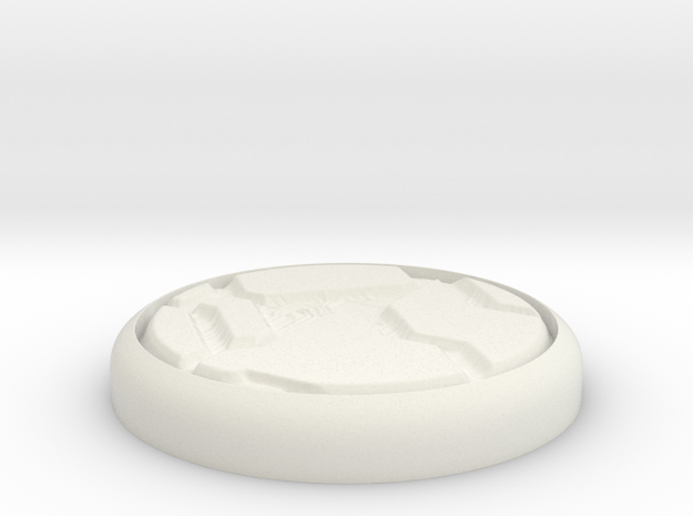 "Tech Panel 1"" Circular Miniature Base Plate in White Natural Versatile Plastic"