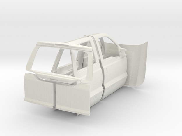 Hood Doors Tailgate 1/10 Ford Excursion body parts in White Natural Versatile Plastic