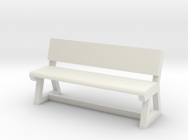 Concrete Bench in White Natural Versatile Plastic