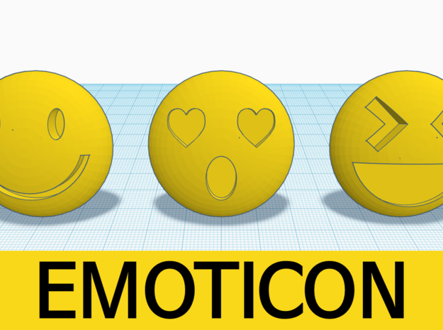 [1DAY_1CAD] EMOTICON_smile in Yellow Processed Versatile Plastic