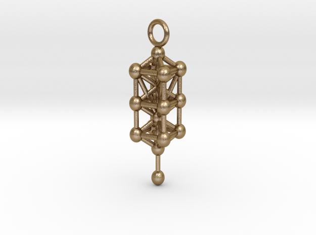 3d sefirot pendant 47 in Polished Gold Steel: Medium