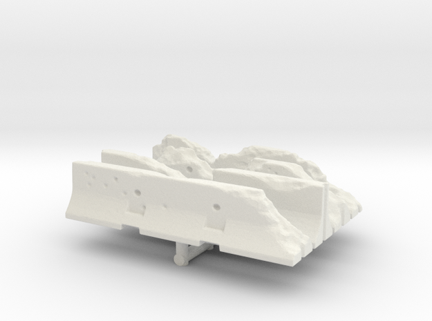 Damaged Jersey barrier (x4) 1/43 in White Natural Versatile Plastic