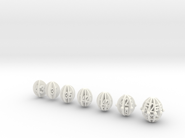 Spheroid Envelope dice Set in White Processed Versatile Plastic: Polyhedral Set