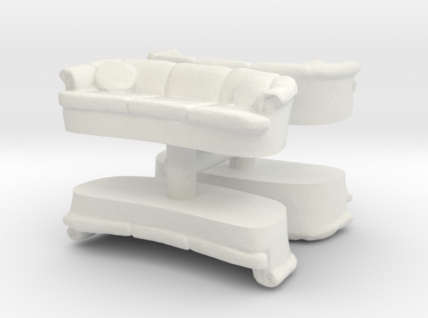 Sofa (4 pieces) 1/72 in White Natural Versatile Plastic