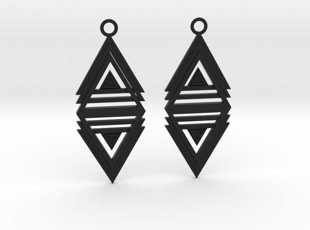 Geometrical earrings no.20 in Black Natural Versatile Plastic: Medium