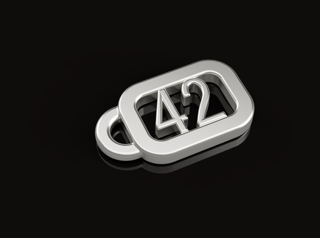 Keyring H2G2 - The ultimate answer is 42 in Polished Bronze Steel