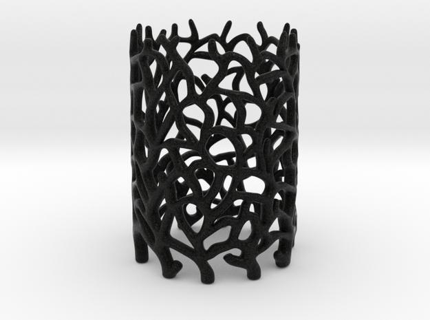 Coraline Tealight Black Sandstone 3d printed