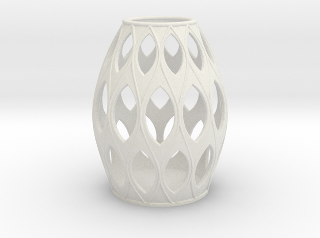 Oval Open Pattern Vase Medium in White Natural Versatile Plastic